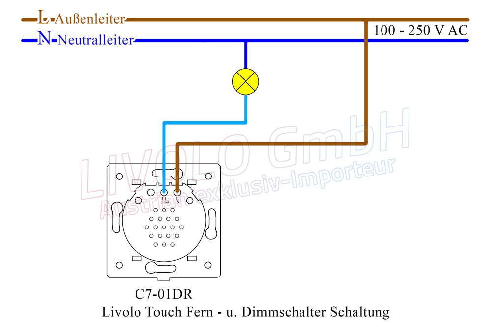 Livolo Touch Fern - u. Dimmschalter Schaltung