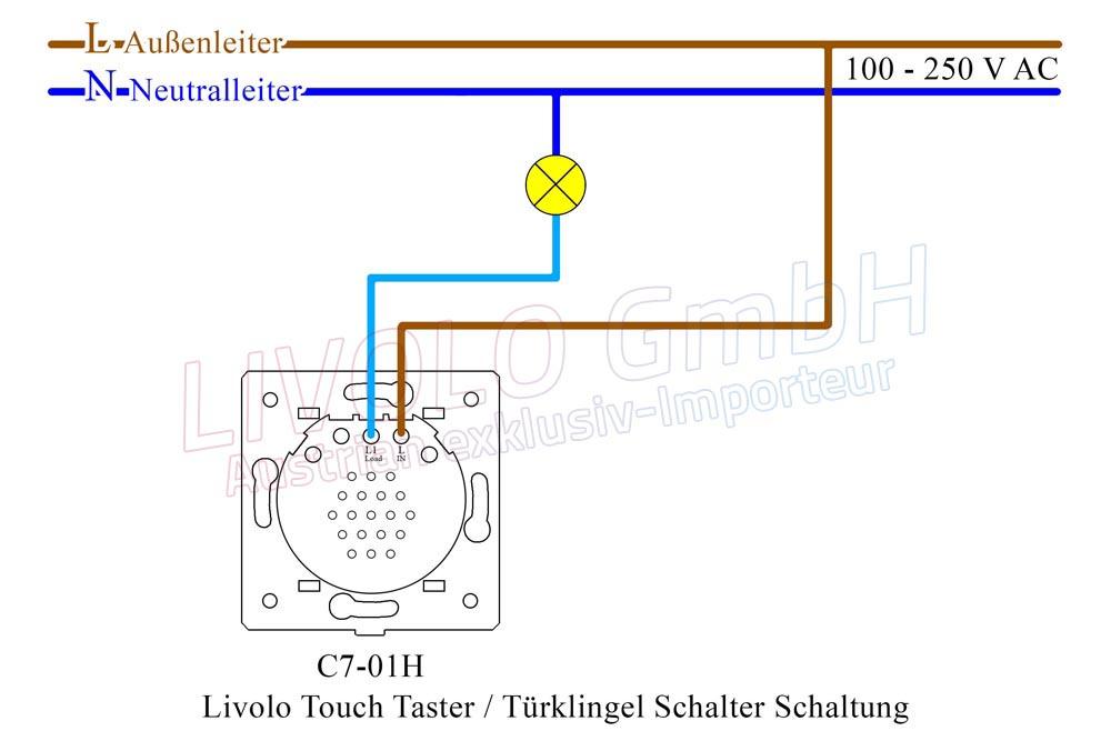 Livolo Touch Taster / Türklingel Schalter, 1gang